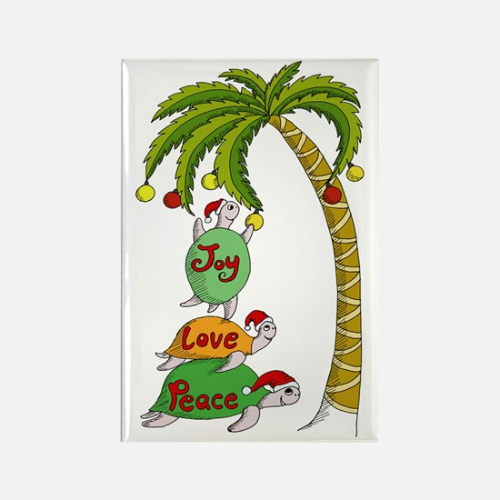 Hawaiian Christmas Turtle Santa Rectangle Magnet