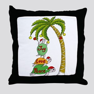 Hawaiian Christmas Santa Turtle Throw Pillow