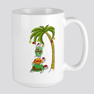 Hawaiian Christmas Santa Turtle Large Mug