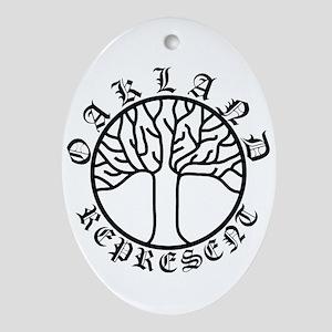 Represent Oakland Tree Light Ornament (Oval)