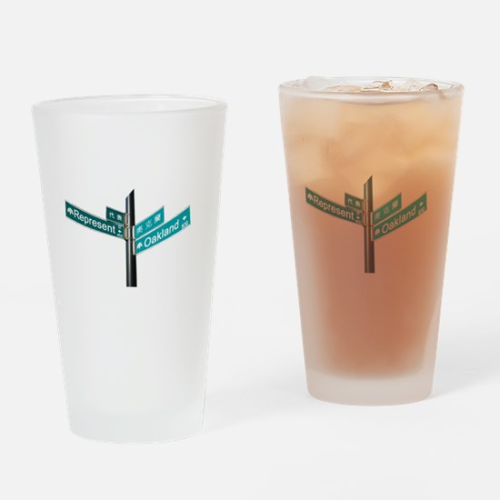 Corner of Represent and Oakla Drinking Glass