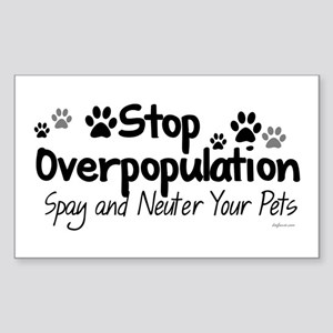 Stop Overpopulation - Spay Neuter Sticker (Rectang