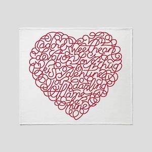 Valentine Word Heart Throw Blanket