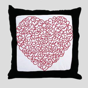 Valentine Word Heart Throw Pillow