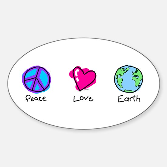 Peace Love and Earth Oval Decal