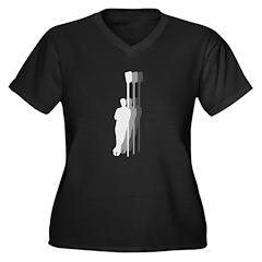 Four Rowers Women's Plus Size V-Neck Dark T-Shirt