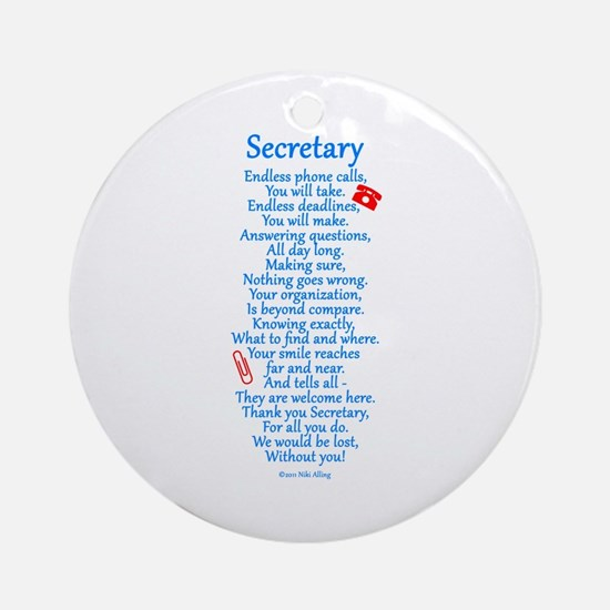 Secretary Thank You Ornament (Round)