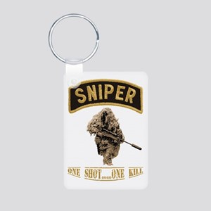 Sniper One Shot...One Kill Aluminum Photo Keychain