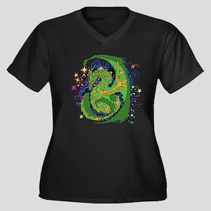Mystic Dragon Women's Plus Size V-Neck Dark T-Shir
