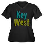 Key West Women's Plus Size V-Neck Dark T-Shirt