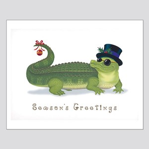 Christmas Alligator Small Poster