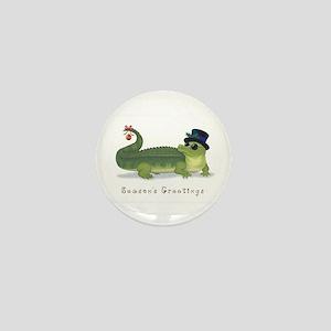 Christmas Alligator Mini Button