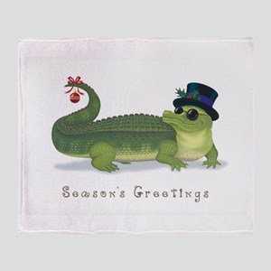 Christmas Alligator Throw Blanket