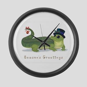 Christmas Alligator Large Wall Clock
