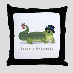 Christmas Alligator Throw Pillow