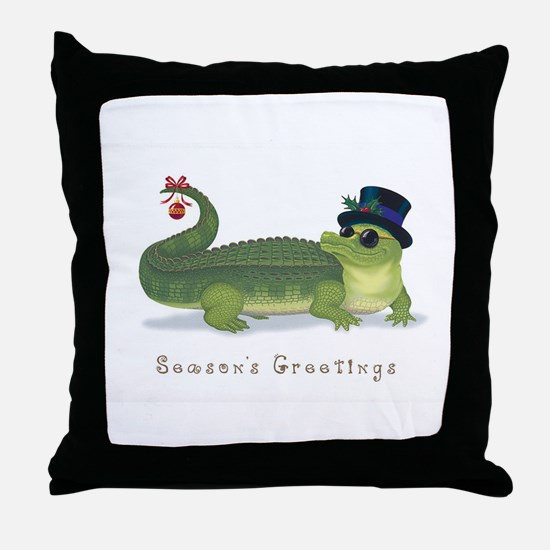 Christmas Alligator Throw Pillow
