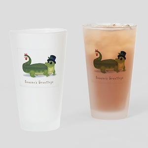 Christmas Alligator Drinking Glass