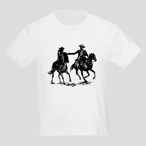 Cowboy and cowgirl riding off Kids Light T-Shirt