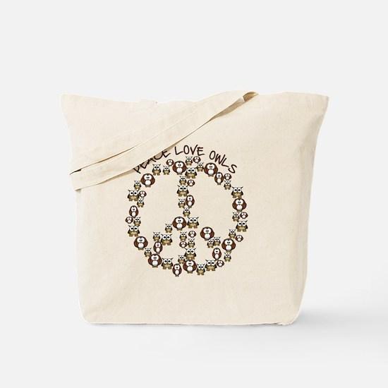 Peace Love Owls Tote Bag