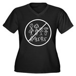 Anti Stick People Women's Plus Size V-Neck Dark T-