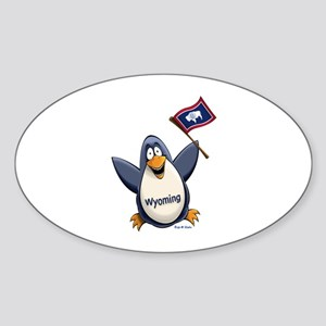 Wyoming Penguin Sticker (Oval)