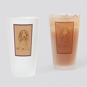 Longhaired Dachshund Drinking Glass