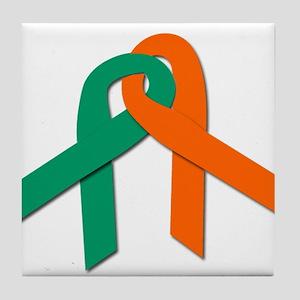 Green and Orange Survivor Rib Tile Coaster