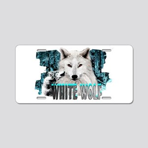 white wolf Aluminum License Plate