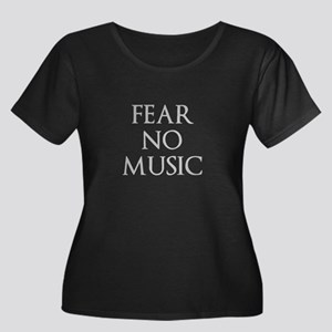 Fear No Music Women's Plus Size Scoop Neck Dark T-