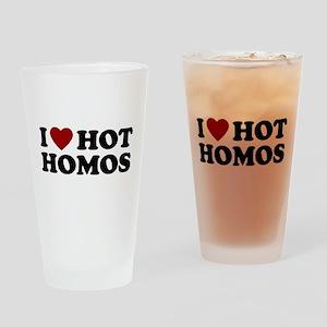 I Heart Hot Homos Drinking Glass