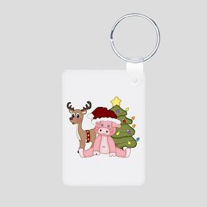 Christmas Pig Aluminum Photo Keychain