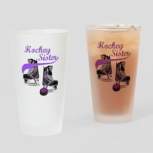 Hockey Sister Drinking Glass