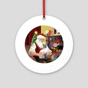 Santa'sSiamese cat (blue) Ornament (Round)