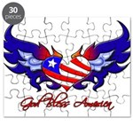 God Bless America Heart Flag Puzzle