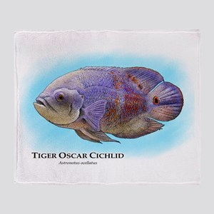 Tiger Oscar Cichlid Throw Blanket