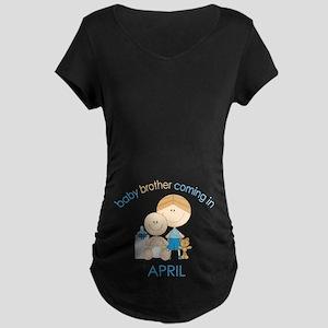 Baby Bro Due April Maternity Dark T-Shirt