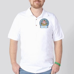 Pig Snow-Globe Holiday Golf Shirt