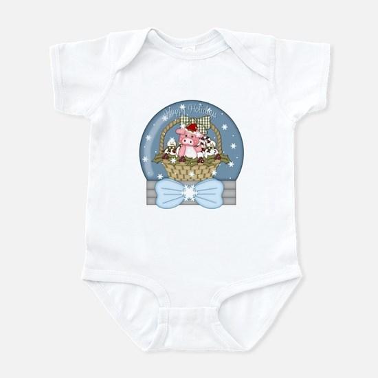 Pig Snow-Globe Holiday Infant Bodysuit