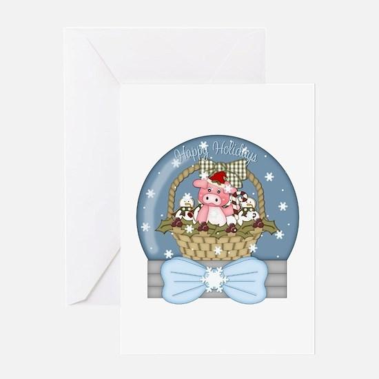 Pig Snow-Globe Holiday Greeting Card