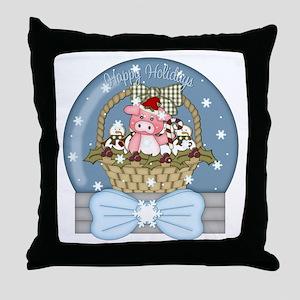 Pig Snow-Globe Holiday Throw Pillow