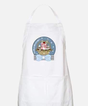 Pig Snow-Globe Holiday Apron