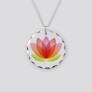 Lotus Necklace Circle Charm