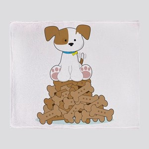 Cute Puppy and Bones Throw Blanket