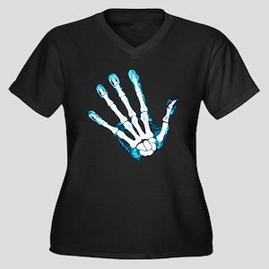 Blue Hand Women's Plus Size V-Neck Dark T-Shirt