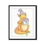 Gold birthday dragon Framed Panel Print