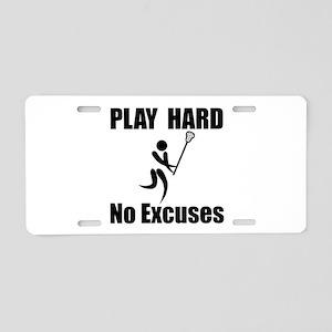 Lacrosse Play Hard Aluminum License Plate