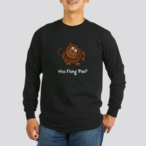Monkey Flung Poo Long Sleeve Dark T-Shirt