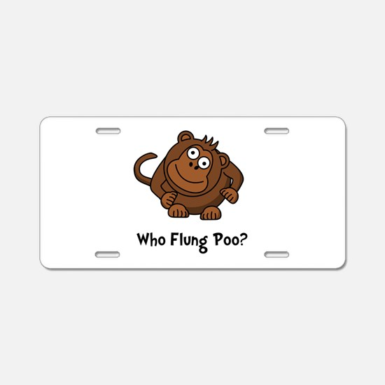 Monkey Flung Poo Aluminum License Plate