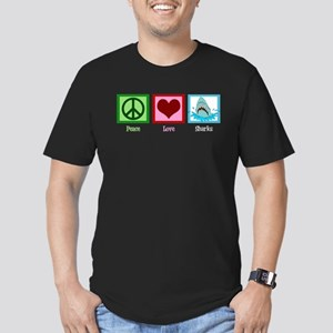 Peace Love Sharks Men's Fitted T-Shirt (dark)