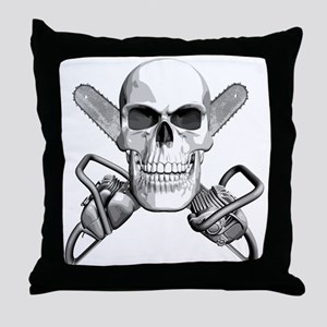 Skull and Chainsaws Throw Pillow